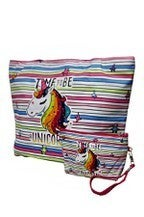 Alfa Bags Animated Unicorn Printed Canvas Tote Bag W/Wristlit