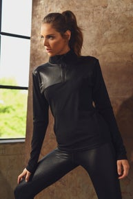 Solid Glossy Accent Half Zip Pullover and Legging Set