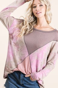 BiBi THERMAL WAFFLE COLOR BLOCK TOP WITH TIE DYE TERRY SIDE BLOCK AND SLEEVES