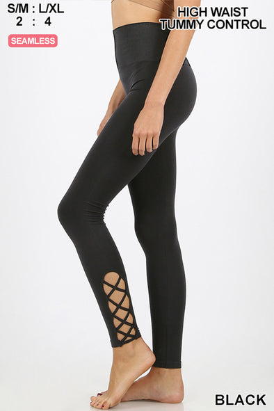 ZENANA LATTICE HEM HIGH WAISTED LEGGINGS