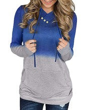 Color Block Pullover Hoodie With Button Detail