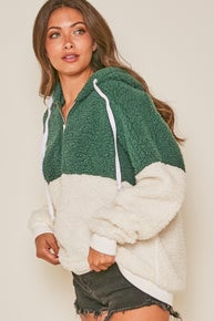 Fantastic Fawn Color Blocked Faux Fur Sherpa Hoodie