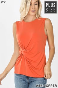 Zenana PLUS ITY KNOT-FRONT SLEEVELESS TOP