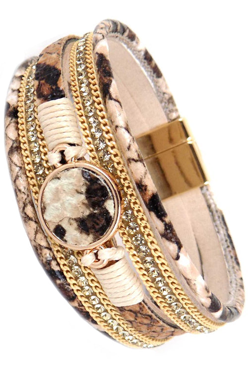 MULTI STRAND PYTHON PRINT LEATHER WITH CHAIN RHINESTONE MAGNETIC BANGLE BRACELET