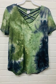 Heimish Sage TIe Dye Criss Cross Front Top *Final Sale*