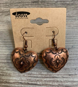 Coppertone Heart Earrings