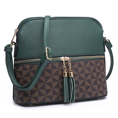 Luxie Collection Colorblock Tassel Zipper Dome Crossbody Bag Faux leather