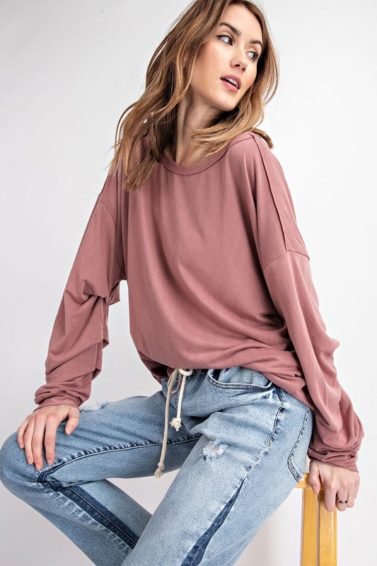 Easel SOFT AND COMFY BUBBLE SLEEVE WASHED LOOSE FIT TOP