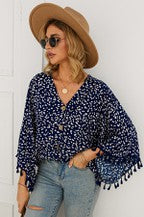 V-Neck Florat Dot Print Blouse