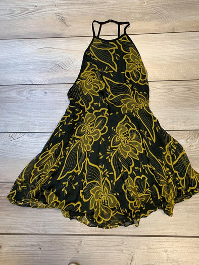 Banjule Black & Green Open Back Dress