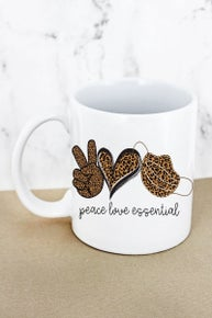 PEACE LOVE ESSENTIAL LEOPARD WHITE MUG