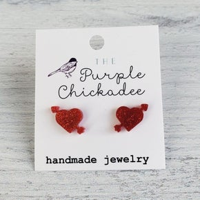 Purple Chickadee Arrow Heart Acrylic Earrings