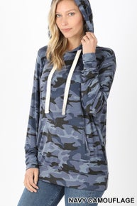 Zenana PREMIUM RAYON CAMOUFLAGE HOODIE TOP WITH KANGAROO POCKETS - FUNCTIONAL DRAWSTRING