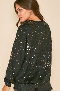 Fantastic Fawn Long Sleeve Metallic Foil Star Print Sweatshirt