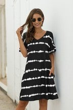 V- Neck Striped Short Sleeve Dress