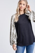White Birch Knit Top Long Snake Print Puff Sleeves