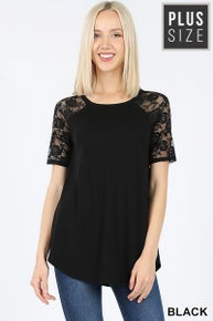 PLUS LACE DETAIL SHORT SLEEVE ROUND Black