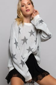 POL Star Spangled Stars Lightweight Soft Sweater