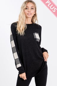 Fantastic Fawn Long sleeve Solid and Plaid Color Block Top with Pocket Detail