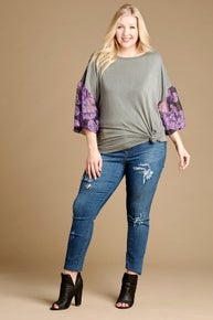 Oddi Plus Solid Knit Top with Floral Printed Sleeves