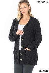 Zenana Popcorn Button Down Cardigan