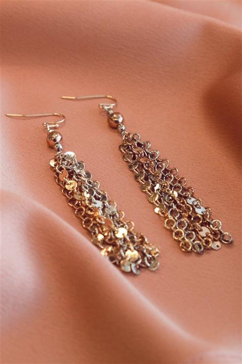 Metallic Coin Fringe Gold Tone Earrings