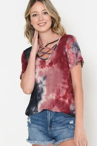 Magic Fit-TIE DYE CHEST CRISS CROSS SHORT SLEEVE TOP