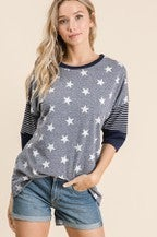 Lovely Melody Star Print  Colorblock T shirt Pin Stripe Detail