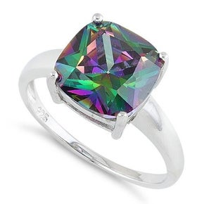 Sterling Silver Cushion Cut Rainbow Topaz CZ Ring