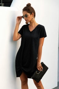 Knot Front Tee Shirt Dress
