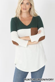 Zenana COLOR BLOCK SUEDE POCKET & ELBOW PATCH TOP