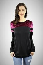 Zutter Long Sleeve Velvet Detail Top