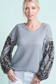 La Miel Free Spirit Top Round Neck Eyelet Detail Floral Sleeves