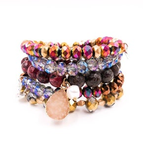 Tempted Stack Bracelet Set 5  Druzy Charm