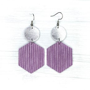 Savvy Bling Lavender Ruffle Leather Earrings