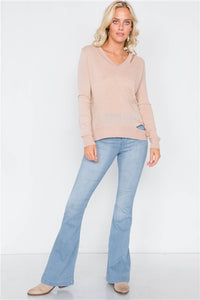 Hers & Mine Tan Cold Shoulder Cut-Out Semi Sheer Sweater