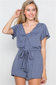 Humming Bird Denim Blue V-Neck Front Roll Knot Jersey Romper