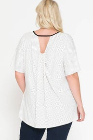 RKApparel POLKA DOT KEYHOLE NECK SHORT SLEEVE TOP
