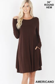 Zenana LONG SLEEVE ROUND HEM A-LINE DRESS WITH SIDE POCKETS
