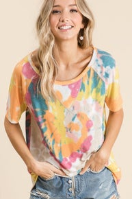 BiBI TIE DYE PRINT KNIT TOP WITH RAGLAN SLEEVES