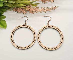 Poppy Peach Round Detailed Wood Earrings