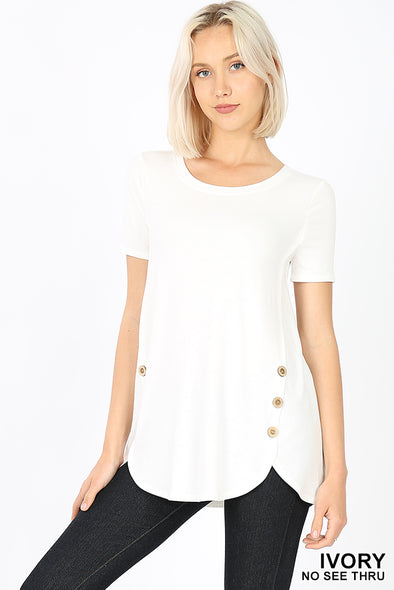 Zenana PREMIUM SHORT SLEEVE WOOD BUTTON TOP
