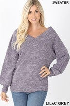 Zenana BALLOON SLEEVE WIDE DOUBLE V-NECK SWEATER