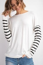 143 Story BAMBOO SPANDEX STRIPE CONTRAST LONG SLEEVE TOP
