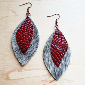 Red Oval Grey Hide Earrings with Gator Accent