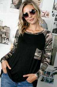 E Luna SOLID CAMOUFLAGE A LINE TOP