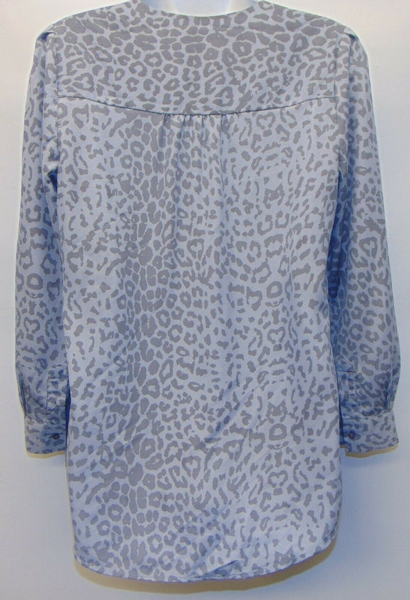 Cynthia Steffe Gray Leopard Animal Print Blouse Womens Small