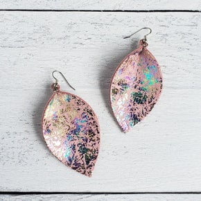 Purple Chickadee Pink Mermaid Pinched Leather Earrings