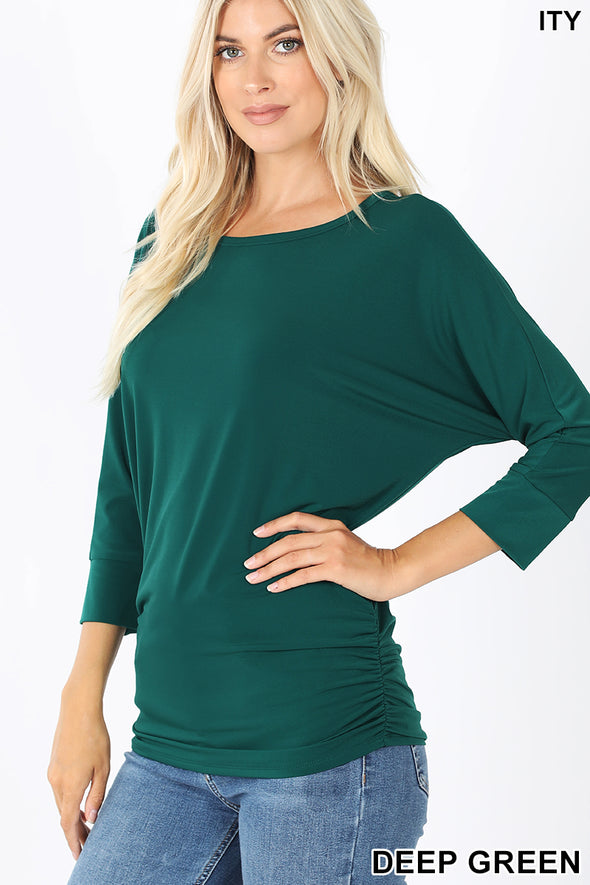 Zenana ITY Boat Neck Dolman Sleeve Top