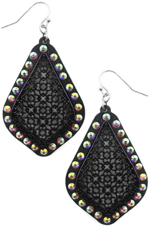 QUATRE FOIL SHAPE WOOD FILIGREE WITH RHINESTONE FISH HOOK DANGLING EARRING